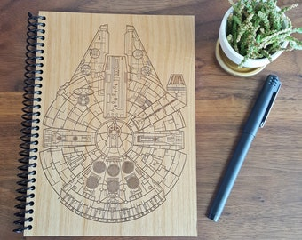 Millennium Falcon Wood Notebook - Laser Engraved Hardwood Planner Journal