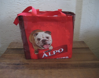 Medium Dog Food Tote Bag Market Purse - Recycled Upcycled Reusable