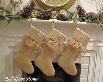 Burlap Personalized Christmas Stocking Embroidered Knotted Fringe Cuff Monogram