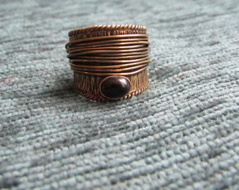 Indian gold ring ring wide small obsidian and Tiger eye stone