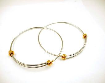 1 Adjustable Two Toned Steel Stackable Bangle Bracelet 22-31