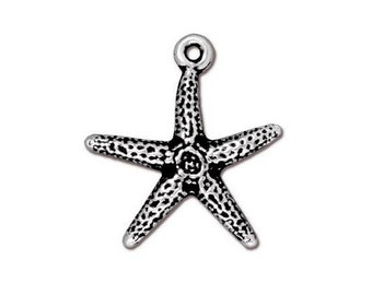 3 TierraCast Sea Star 3/4 inch ( 20 mm ) Silver Plated Pewter Charms