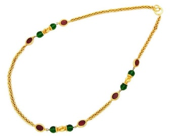 Authentic vintage Chanel necklace chain red green glass stones jewelry #ne542