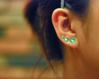 Lime Green Rhinestone Ear Climbers - Swarovski Elements