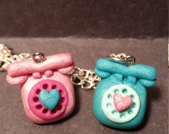 Cute polymer clay phone charm for valentine's day!