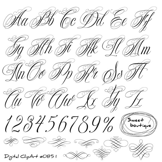 Handwritten alphabet calligraphy clip art