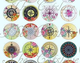 """Compass Magnets, Compass Pins, Wind Rose Compasses, 1"""" Cabochons, Flat Backs, Hollow Backs, Rose Compasses, 12 ct"""