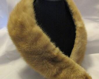 Vintage genuine brown fur collar