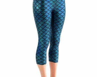 High Waist Turquoise Mermaid Capri Leggings Mermaid or Dragon Scale - 153904