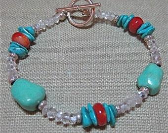 Turquoise, Coral & Aquamarine Southwestern Sparkle Bracelet - B042