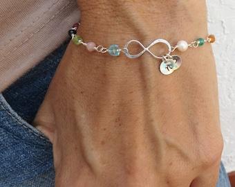 Beaded Bracelet Gift for Mom Gemstone Bracelet Personalized Sterling Silver Bracelet Boho Jewelry Infinity Bracelet Best Friend Gift Family