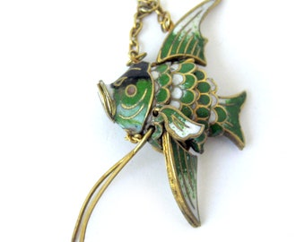 Vintage Chinese Cloisonne Enamel Angel Fish / Gold Fill / Articulated Fish Pendant / Green Enamel Fish / Dangling Pendant Charm