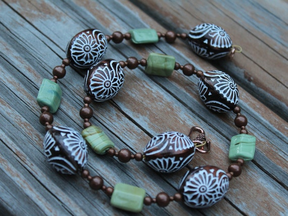 Bronze Necklace, Green and Bronze Short Statement Necklace, Chunky Bronze and Green Jewelry