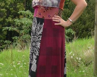Upcycled Sleeveless, Hippie-Boho, Stretch knit, Long floaty, patchworked Dress, Size M/L, 12-14+, EU 38/40/42