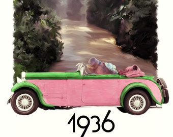"""Children's Art - Limited Edition Signed Fine Art Print - """"1936 Junglemaster Roadster"""" (Edition of 50)"""
