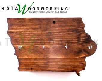 Iowa Shaped Wood Cut-out Key Holder - Wall Mount - Handmade
