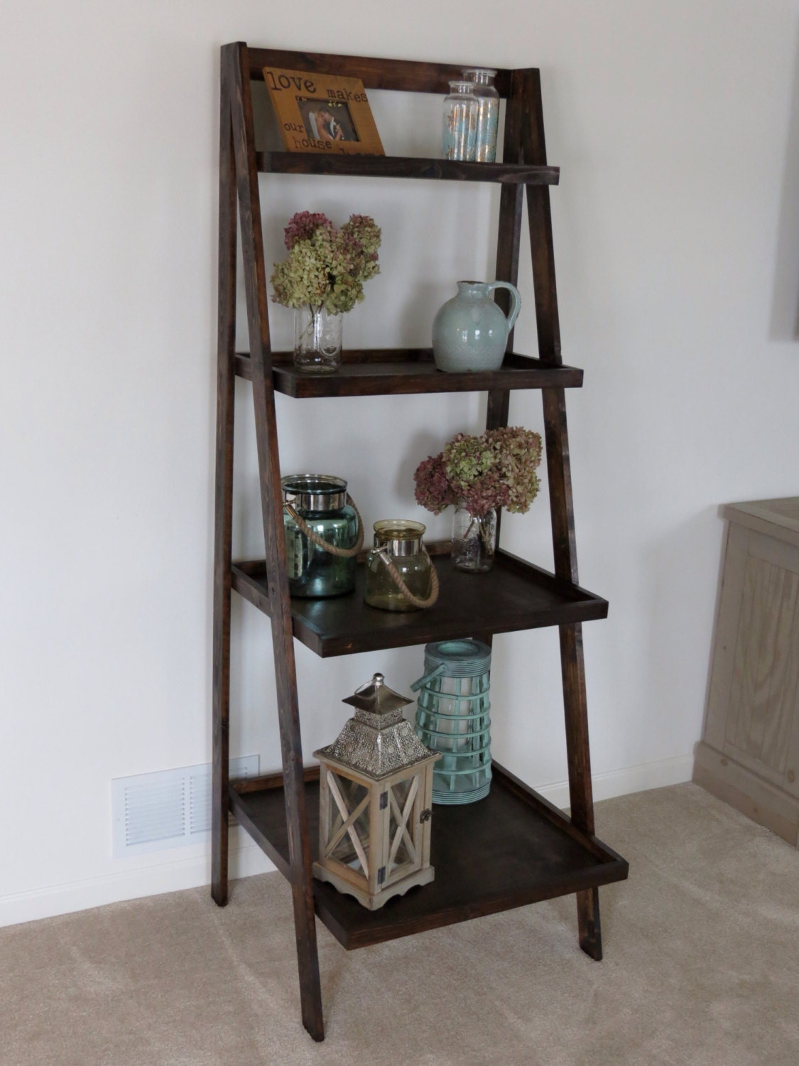 rustic shelf ladder rustic ladder shelves 11834