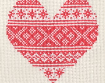 Pattern - Red Nordic Valentine Heart Cross Stitch Chart PDF
