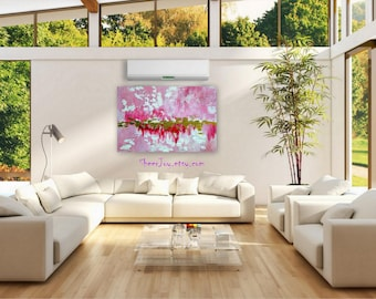 """pink painting on canvas, large pink painting, abstract ar,t on canvas, huge painting, large  painting, large canvas painting, art,36"""" x 24"""""""