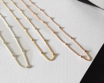 Satellite chain necklace / chain with tiny beads / dew drops necklace / layering necklace