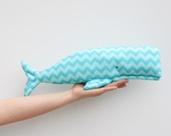 Stuffed whale toy plush softie BIG whale handmade toy teal turquoise whale fish baby shower gift and nursery decor idea