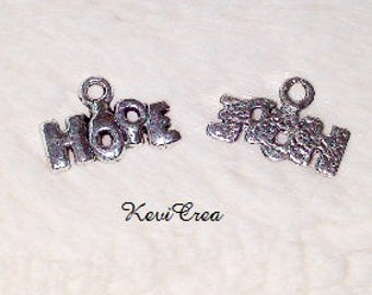 10 x silver HOPE charms charms