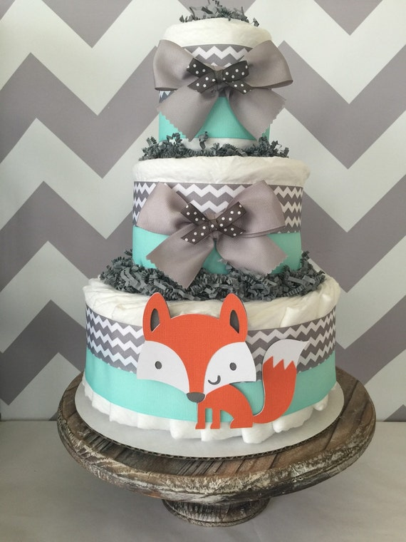 Fox Diaper Cake In Mint Grey And White Woodland Baby Shower Centerpiece