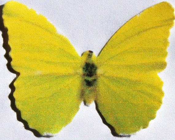 24 Yellow, Faded Green Paper Butterfly Embellishments for DIY ...