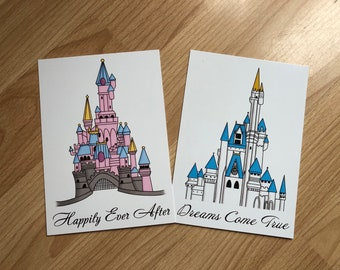 Disney Castle Artwork - A6 postcards of Sleeping Beauty and Cinderella castles