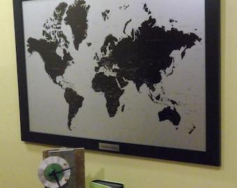 Modern Push Pin World Map