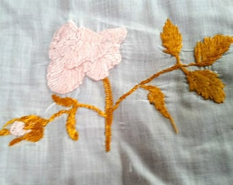 Antique Apron Panel, Edw silk embroidery, lace trimmed