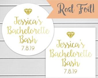 Bachelorette Bash Gold Foil Stickers, Bachelorette Party Labels, Gold or Color Foil Labels (#506-F)
