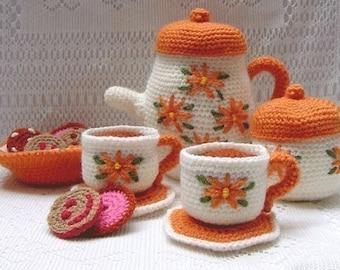 Amigurumi Pattern Crochet Tea Set and Cookies DIY Instant Digital Download PDF