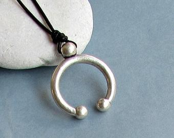 Ancient Greek Men's Necklace Pendant, Silver Charm, Leather Necklace Pendant, Adjustable