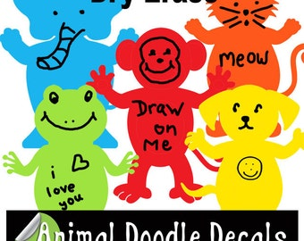 Fun Animal Dry Erase Wall Decals for Kids Room Walls