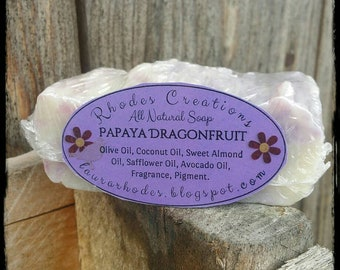 All Natural Handmade Soap Papaya Dragonfruit*Made in Small Batches*Handcrafted for bath and body