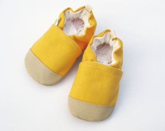 Organic Vegan Sunflower Heavy Canvas / non-slip soft sole baby shoes / Made to Order / babies toddlers preschool