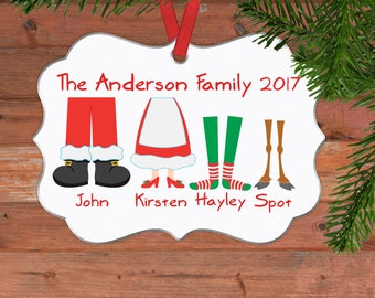 Personalized Family Christmas Ornament - Family Christmas Gift Ideas Black Friday - Elf Feet Customized Christmas Oval Ornament