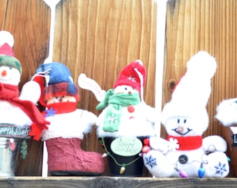 Snowman ornaments - last minute gifts - Ornament Exchange gifts - Happy Holidays - Let It Snow