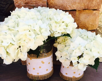 Mason Jar Wrap, Gold Dot & Burlap, Mason Jar Decoration, Baby Shower, Party, Wedding Decoration