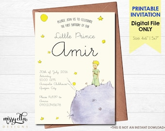 DIGITAL FILE The Little Prince / Le Petit Prince Birthday Party Invitation / Printable Invitation / Le Petit Prince Baby Shower / Baptism