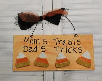 Halloween Candy Corn Hand Painted Wood Sign