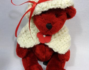 Red Teddy Bear, Crochet Outfit for Bear, Valentine's Day Present, Gift for Grandma, Bear with Shawl and Hat, Bear Collector Find