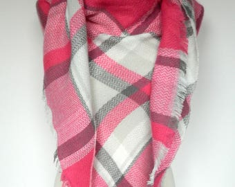 Pink/White Plaid Scarf, Winter Scarf, Plaid Scarf, Large Triangle Plaid Scarf, Plaid Shawl, Blanket Scarf, Women's Scarf, Ladies Gifts