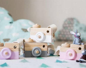 Wooden Toy Camera, Roleplay Imagination Toys, Nordic Style Wall Hanging