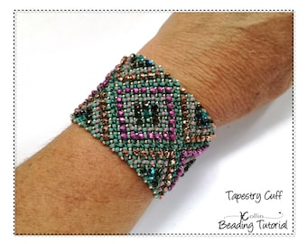 Pondo Stitch Cuff beading pattern and instructions for a wide layered textured cuff seed bead jewelry PDF tutorial Download TAPESTRY CUFF
