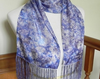 Hand Dyed Silk Scarf with Fringe, Blueberry & Plum Long Neck Scarf, # 352, ready to ship