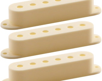 Three Pack of Antique Ivory Single Coil Electric Guitar Pickup Covers Repair Replacement Upgrade Luthier