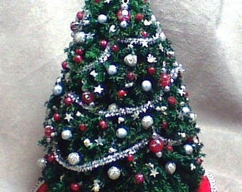 Handmade Red and Silver Christmas Tree 1/12 scale (one inch scale)