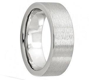 Cobalt Wedding Band,Satin Polish,Pipe Cut Cobalt Ring,Engagement Ring,Anniversary Ring,Handmade,Custom,Brushed,Matte Finish